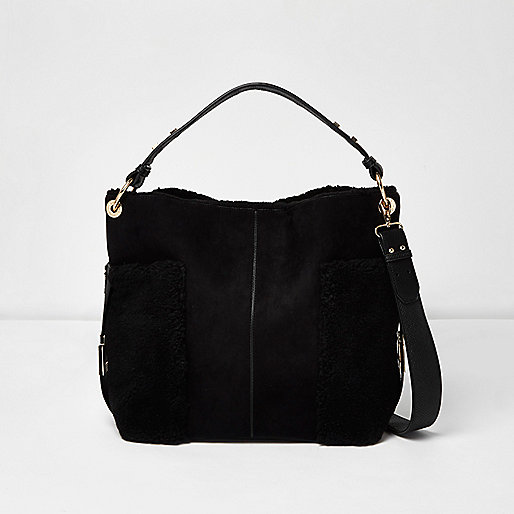 Black faux fur panel slouch bag
