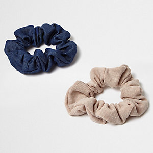 Pink and denim-look scrunchies pack