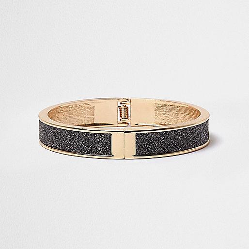 Gold tone glitter cuff bracelet