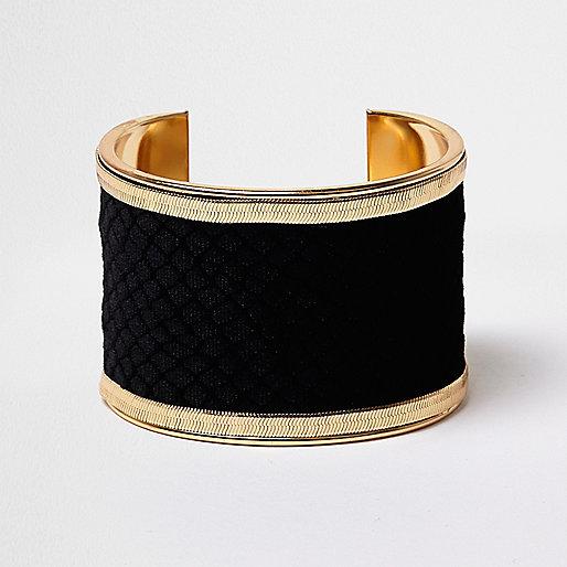 Bracelet manchette oversize en velours doré