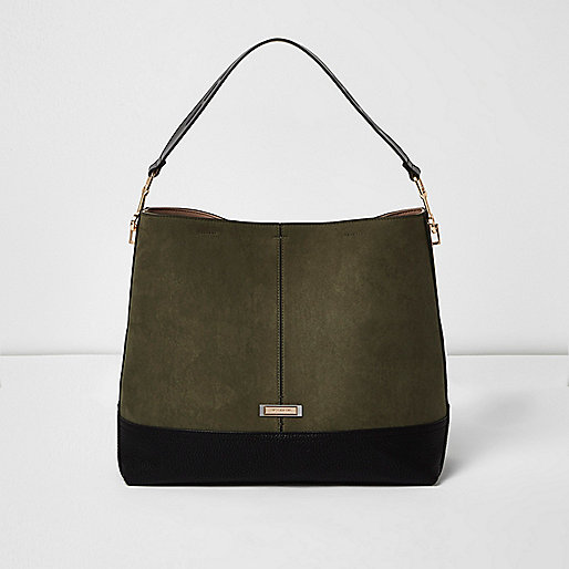 Khaki green contrast panel slouch bag