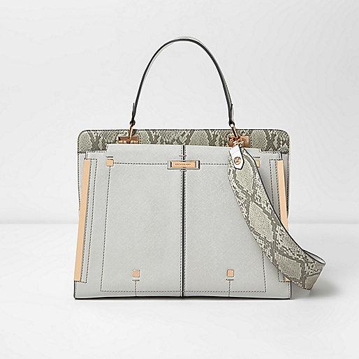 Metallic grey snake print panel tote bag