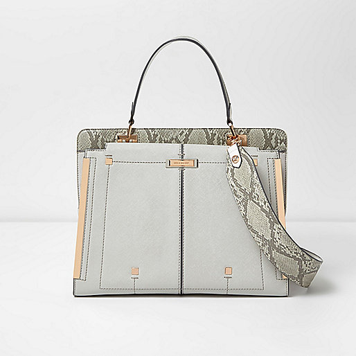 Metallic grey snake print panel tote bag