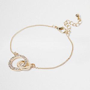 Gold tone interlinking bracelet