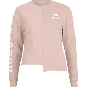 Pink 'New York' print splice sweatshirt