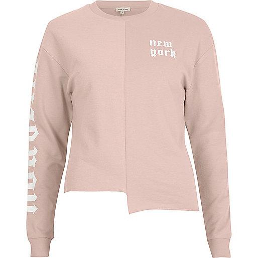Pink 'New York' print splice sweatshirt