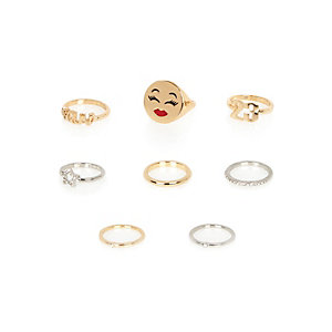 Gold and silver tone emoji rings pack