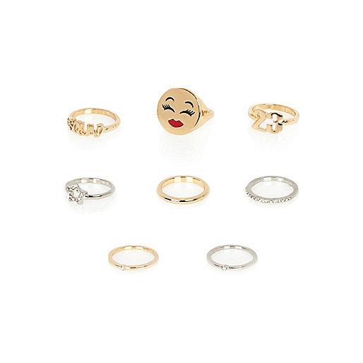 Emoticon-Ringe in Gold und Silber, Set