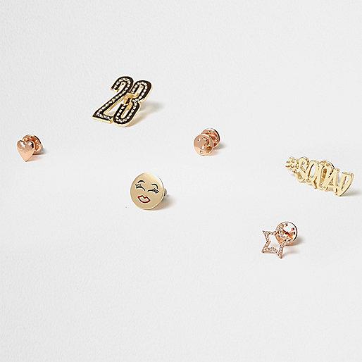 Gold tone multi emoji brooch pack