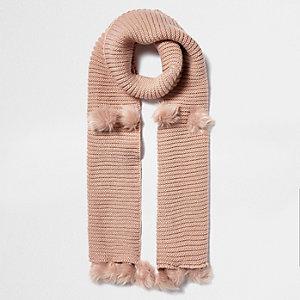 Light pink knit pom pom scarf