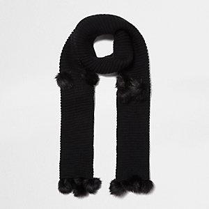 Black knit pom pom scarf