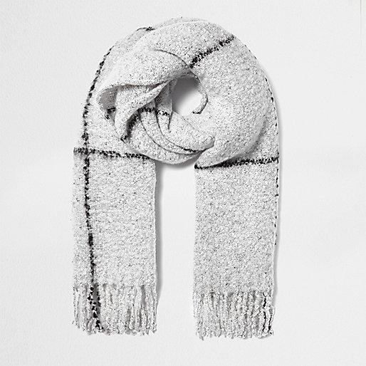 Grey plaid blanket scarf
