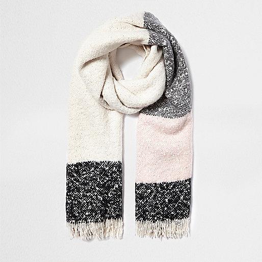 Écharpe motif écossais crème façon couverture