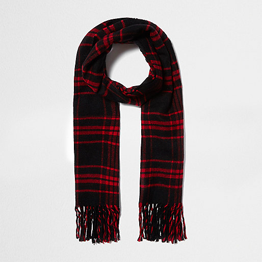 Écharpe à carreaux écossais rouge