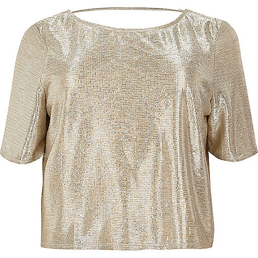 Plus gold grazer top