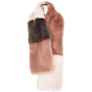 Pink block faux fur wide stole