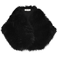 Black faux fur tippet scarf