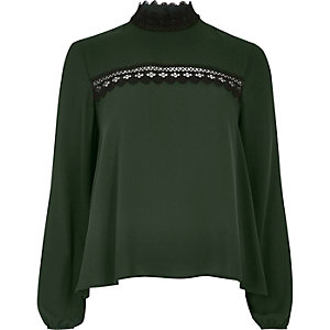 Dark green lace collar blouse