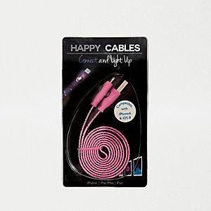 Câble Happy Cable rose avec voyant lumineux