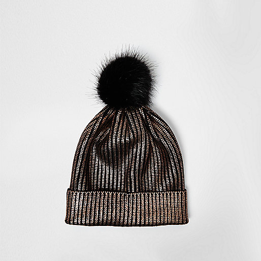 Gold metallic knit bobble hat