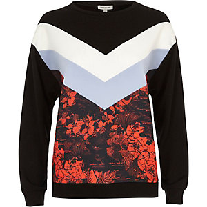 Black floral print block sweatshirt