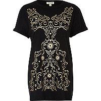 Black metallic print boyfriend fit t-shirt