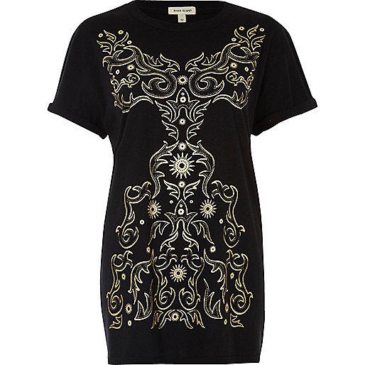 Black metallic print boyfriend T-shirt