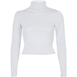 Light blue ribbed roll neck crop top