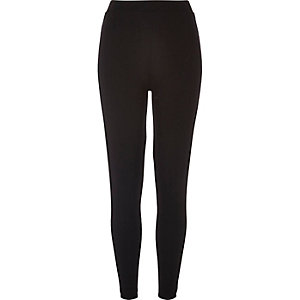 Black ponte velvet side panel leggings