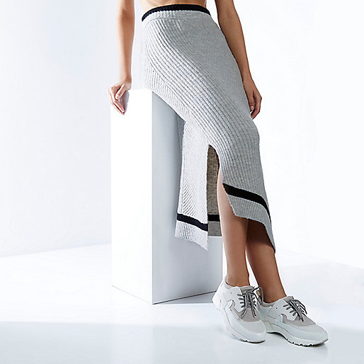 RI Studio grey knit asymmetric wrap skirt