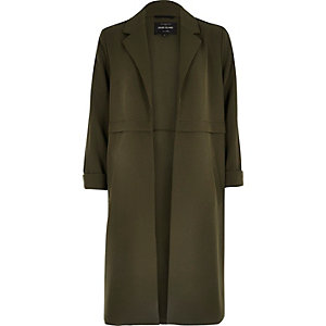 Khaki green seam panel duster jacket