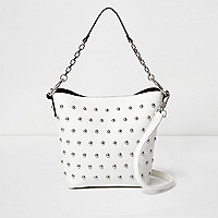 White studded bucket bag