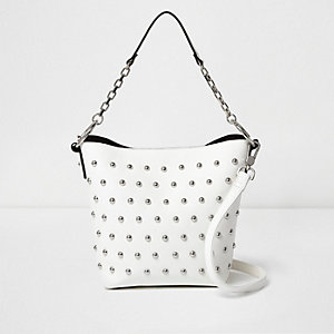 White studded bucket bag