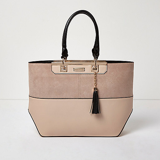 Nude split panel tote bag