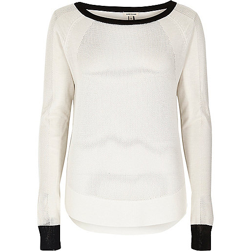White sheer pointelle knit top
