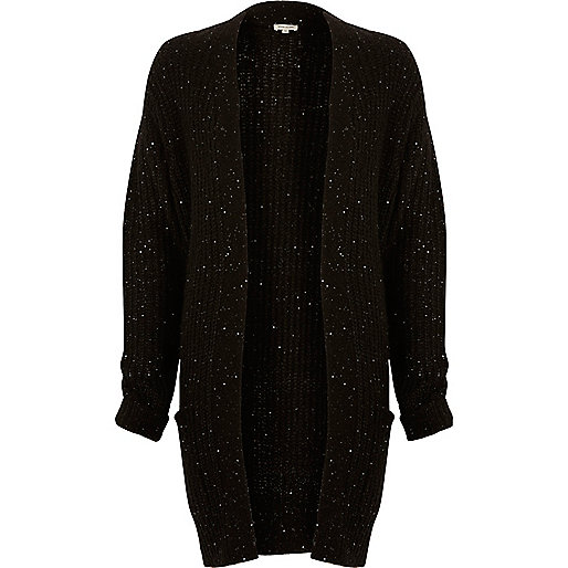 Black knit sequin oversized cardigan