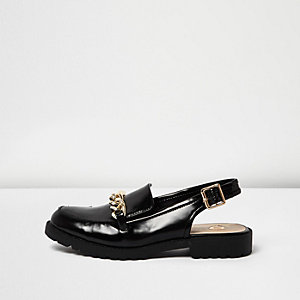 Black patent slingback loafers