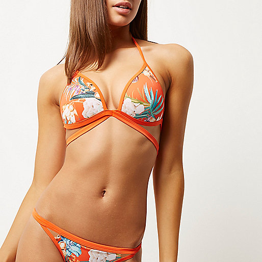 Orange floral print strappy bikini top