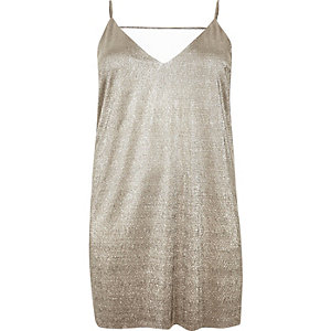 Plus gold strappy slip dress