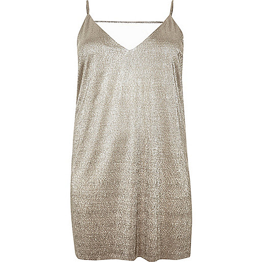 RI Plus gold strappy slip dress