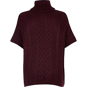 Burgundy cable knit short sleeve poncho