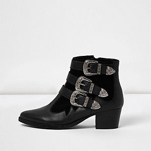 Black leather Western buckle strap boots
