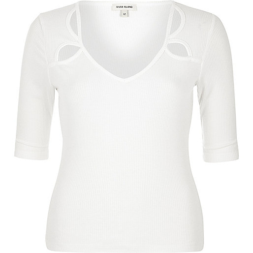 White cut-out top