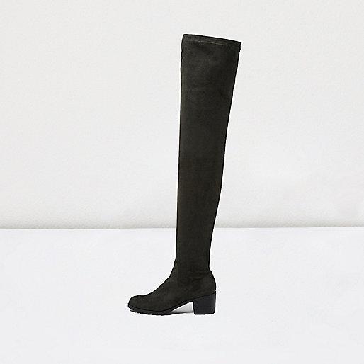 Khaki green over the knee low heel boots