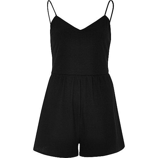 Black jersey cami playsuit