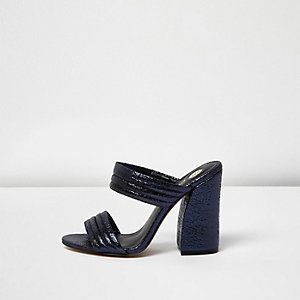 Metallic blue strap heeled mules