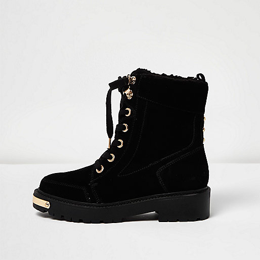 Black suede chunky lace-up boots