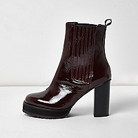 Burgundy patent leather heel Chelsea boots