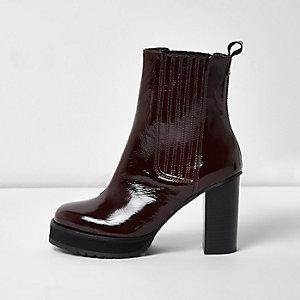 Dark red patent platform heel Chelsea boots