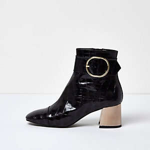 Black croc leather buckle ankle boots